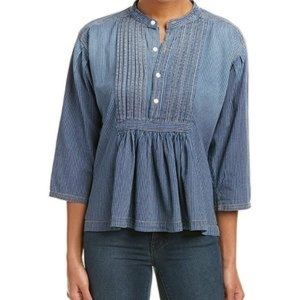 Current Elliot Chambray Striped Peasant Top